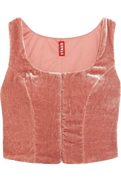 Marie Cropped Crushed-velvet Top