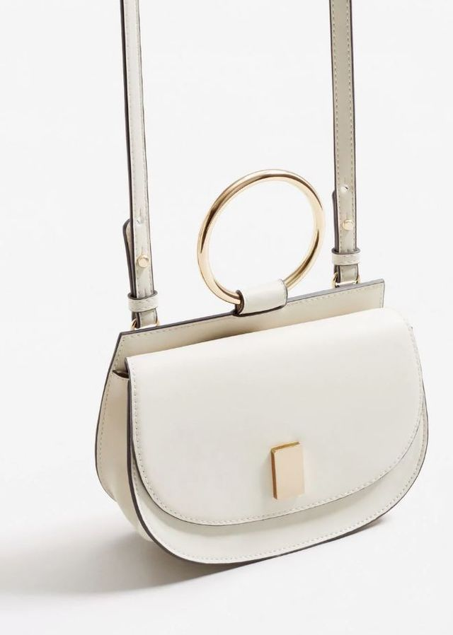 Mango Metallic Handle Shoulder Bag