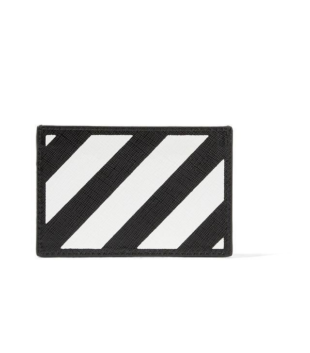 Striped Textured-leather Cardholder