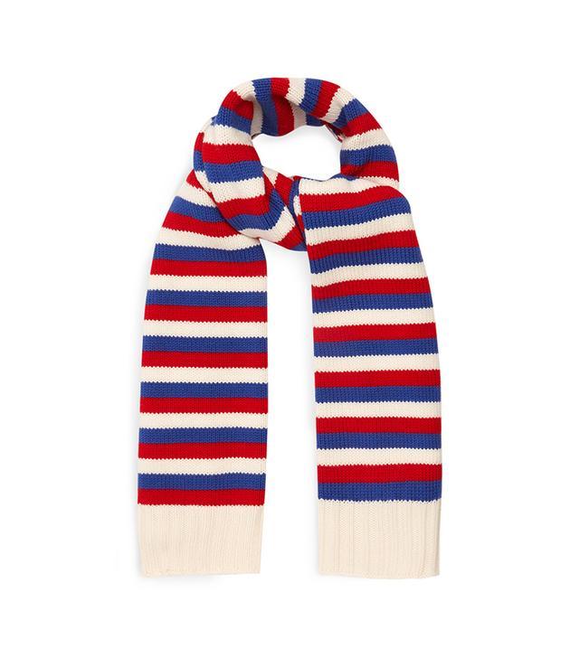 Striped wool-knit scarf