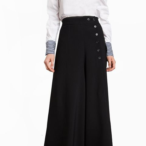 Black Culotte Button High Waisted Pants