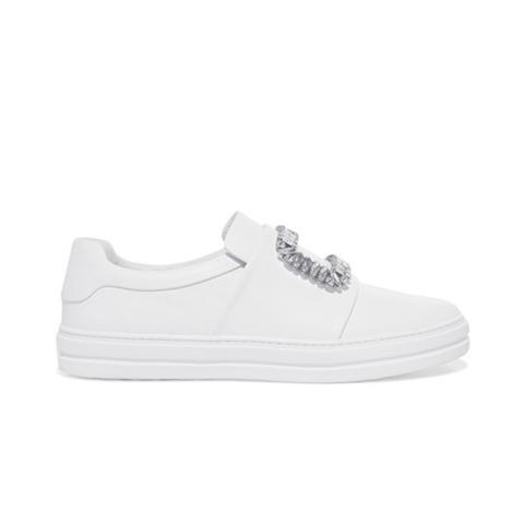 Sneaky Viv Crystal-Embellished Leather Slip-On Sneakers