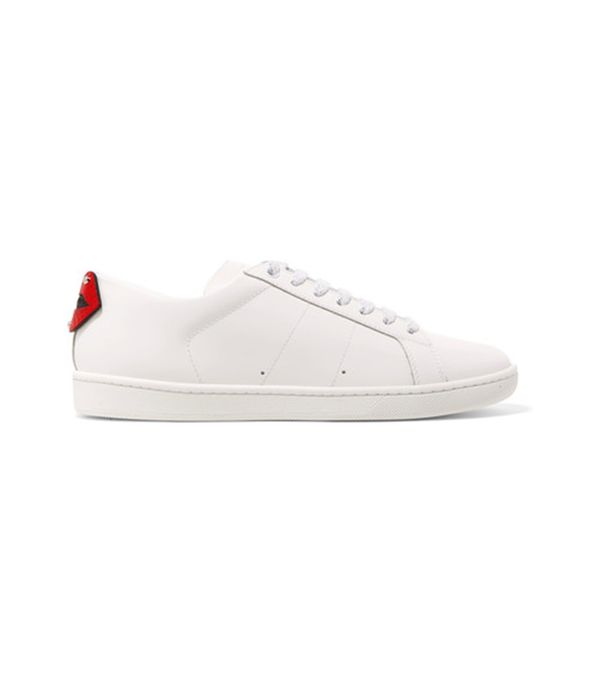 Court Classic Metallic Snake-trimmed Leather Sneakers