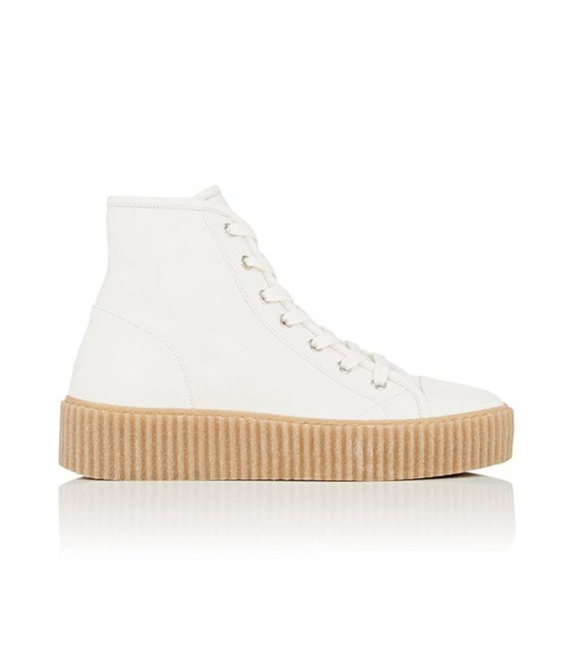 Women's Creeper-Sole Leather Sneakers