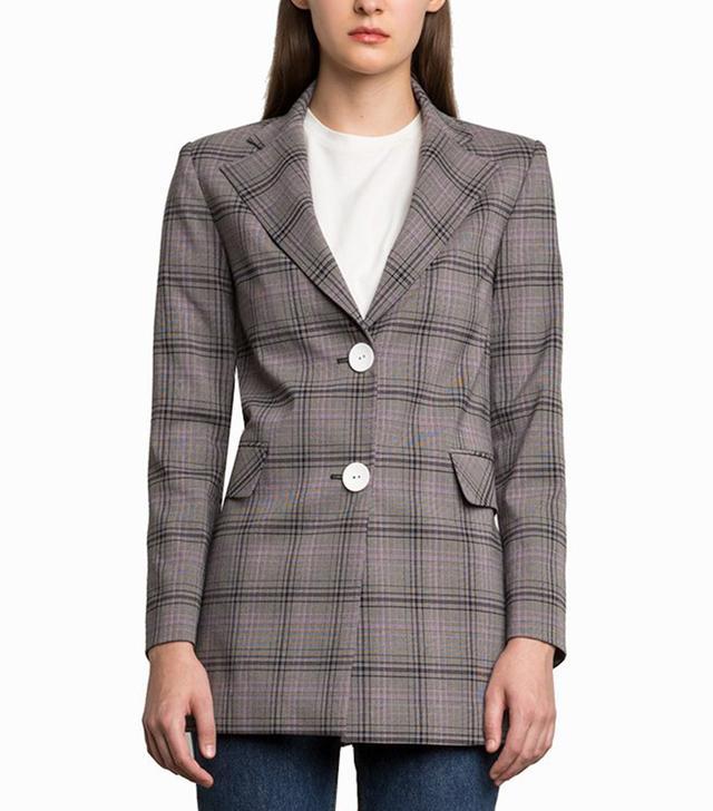 Pixie Market Chelsea Grey Plaid Button Blazer