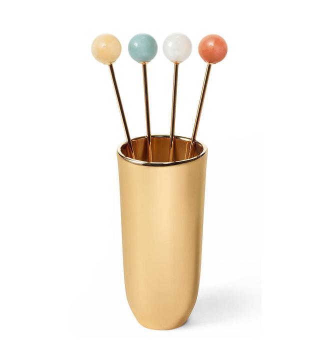 Aerin Annette Cocktail Sticks & Holder