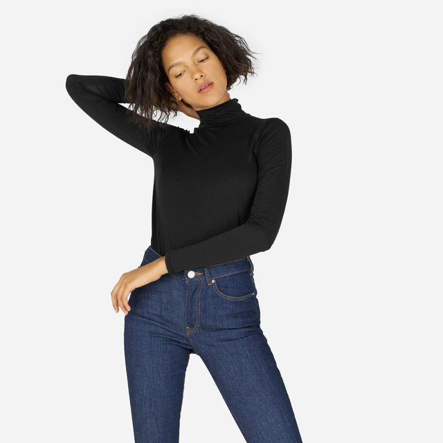 Women's Pima Stretch Turtleneck Sweater by Everlane in Black, Size S