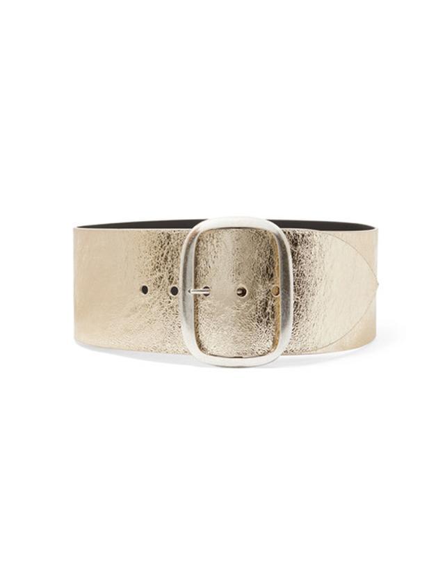 Isabel Marant Tikky Metallic Textured-Leather Waist Belt