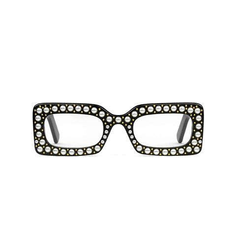 Rectangular-Frame Acetate Sunglasses With Pearls