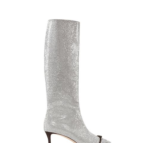 Bow-Embellished Swarovski Crystal And Leather Knee Boots