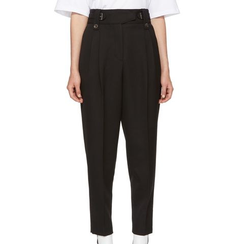 Black High-Waisted Wool Trousers