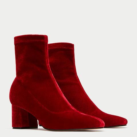 High Heel Velvet Ankle Boots