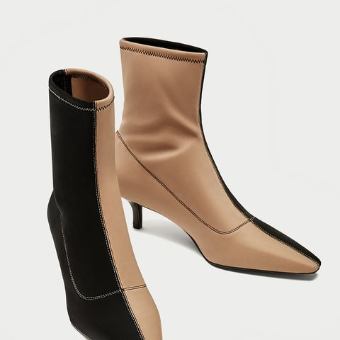 Two-Tone High Heel Ankle Boots