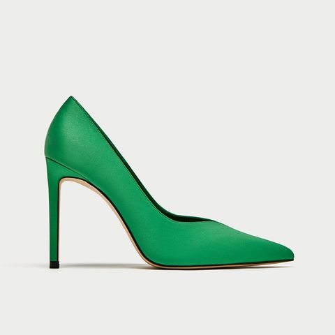 Green V Vamp High Heel Court Shoes