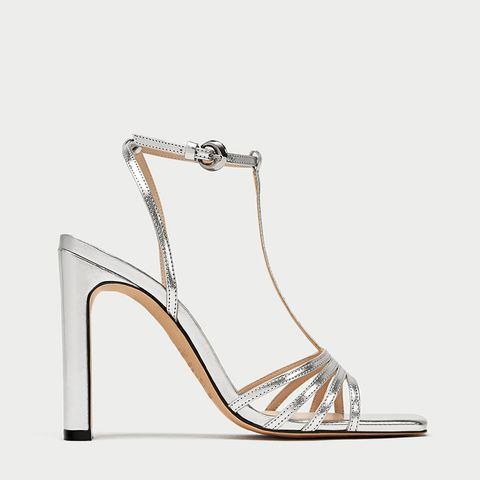 Silver Wide High Heel Sandals