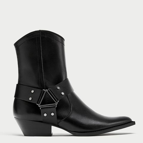 Leather Cowboy Style Ankle Boots