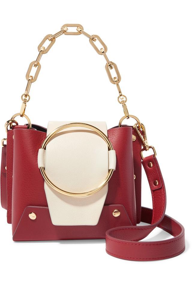 Delila Mini Two-tone Textured-leather Shoulder Bag