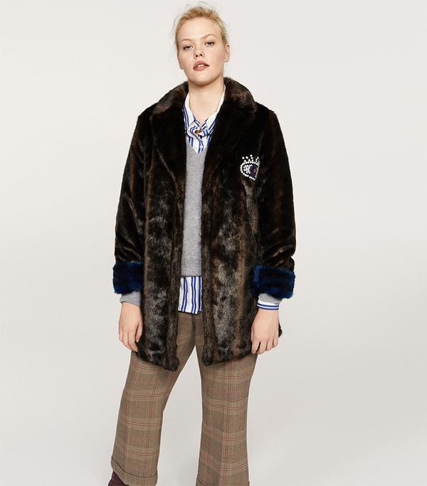 Appliqué faux-fur coat