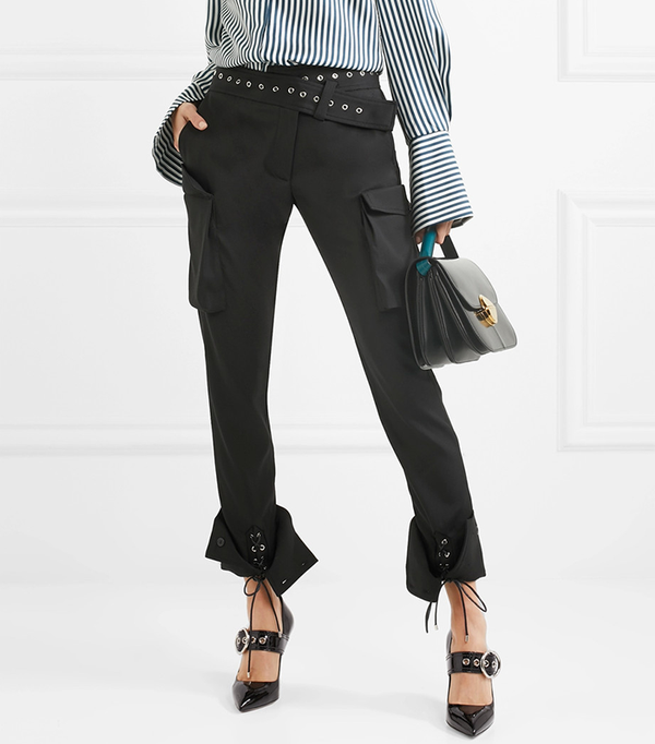 Eyelet-embellished Wool-blend Skinny Pants