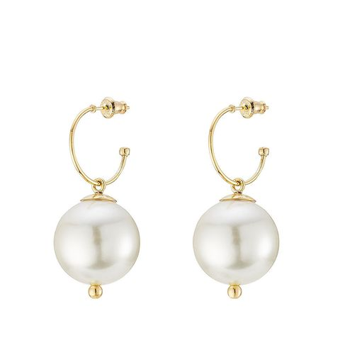 Gold-Plated Sterling Silver Earrings With Pearls