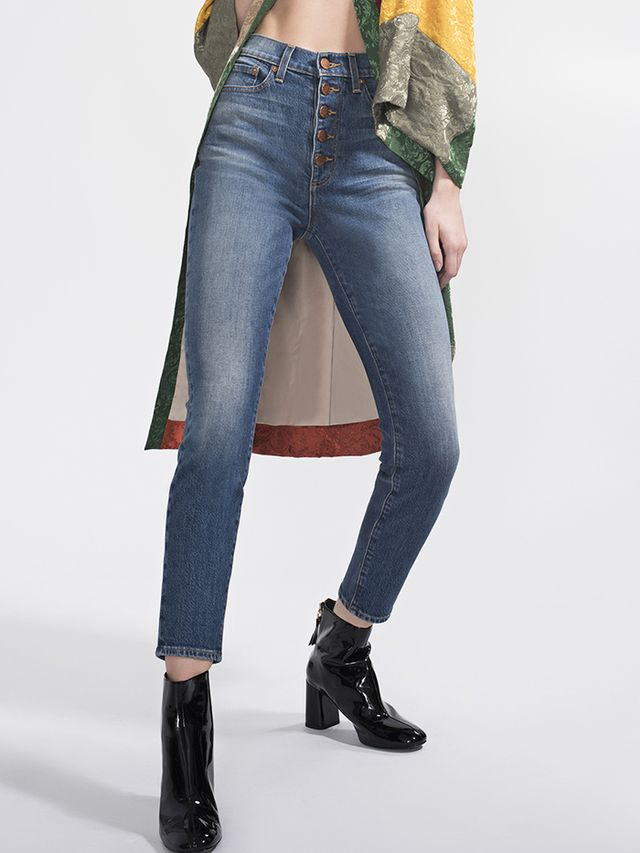 ALICE + OLIVIA GOOD HIGH RISE EXPOSED BUTTON JEAN