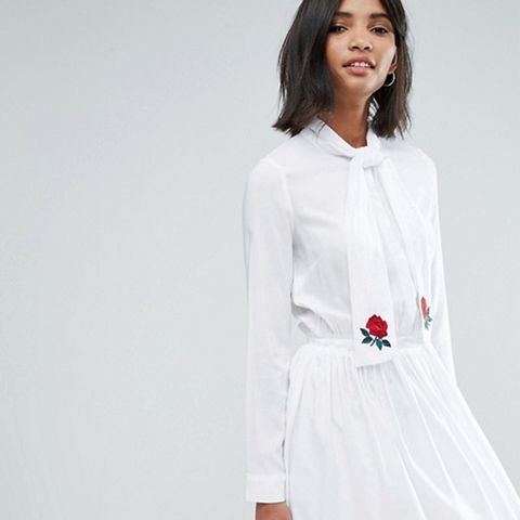 Pussy Bow Pleated Dress With Embroidery