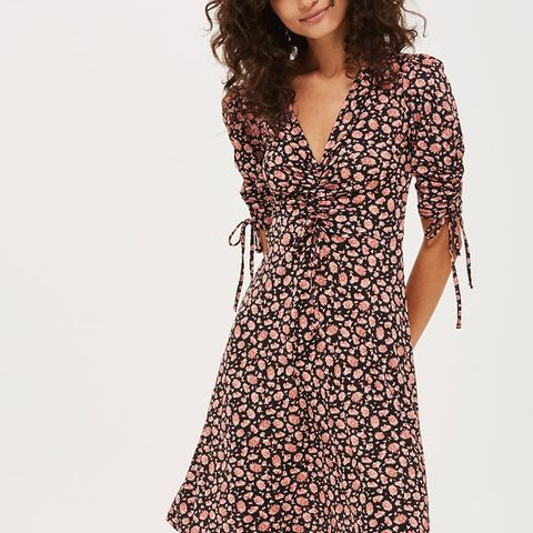 Ditsy Ruched Front T-Shirt Dress