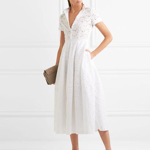 Broderie Anglaise Cotton Midi Dress