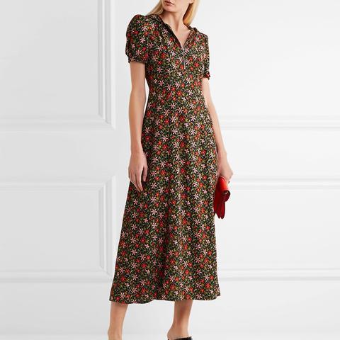 Hooded Floral-Print Crepe Midi Dress