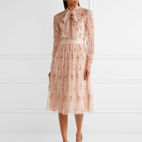 Ditsy Pussy-Bow Embellished Tulle Dress