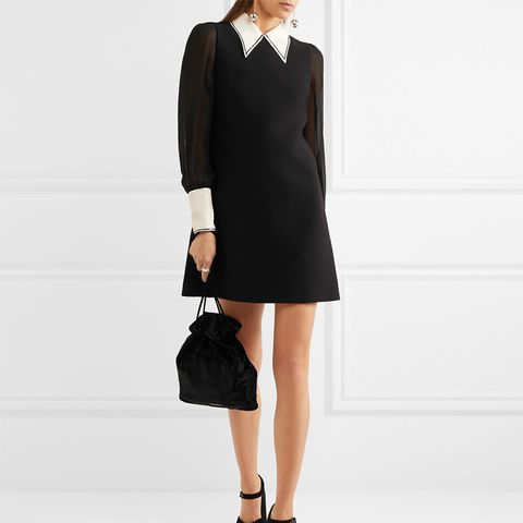 Sequined Cady and Chiffon Mini Dress