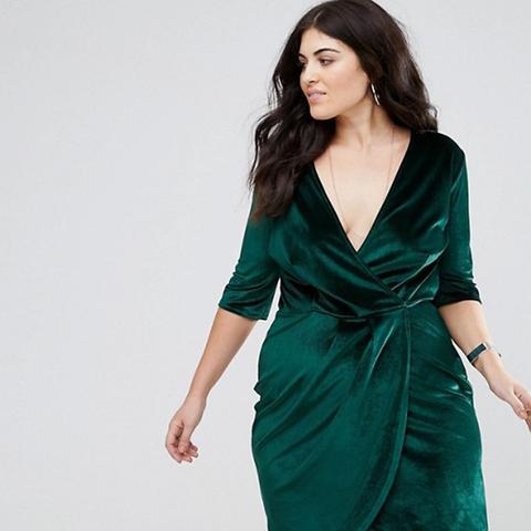 Velvet Wrap Front Dress