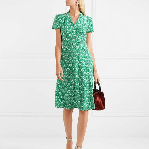 Morgan Floral-Print Silk Crepe de Chine Dress