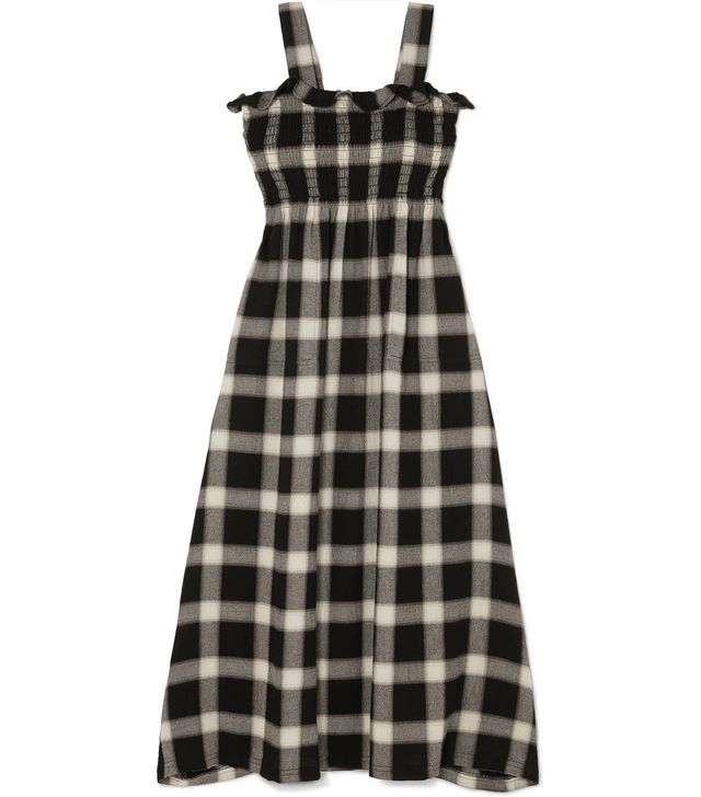 Convertible Smocked Checked Flannel Dress