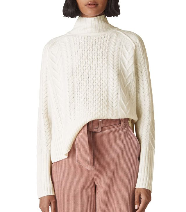 Women's Whistles Funnel Neck Cable Wool Sweater
