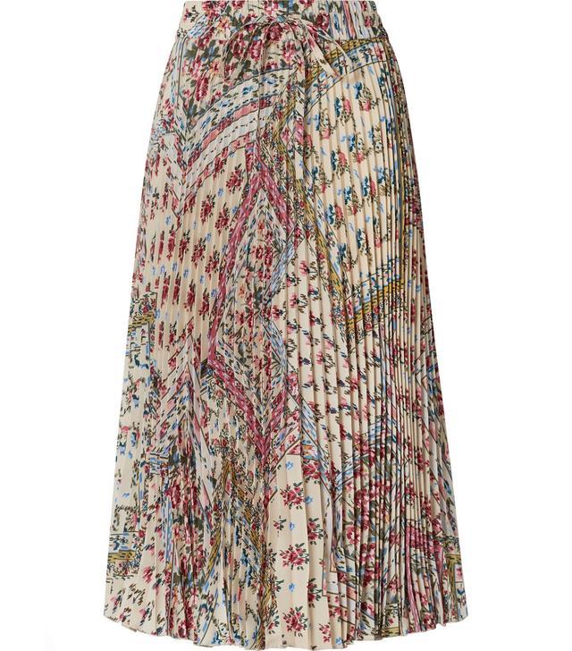 Pleated Floral-print Crepe Midi Skirt