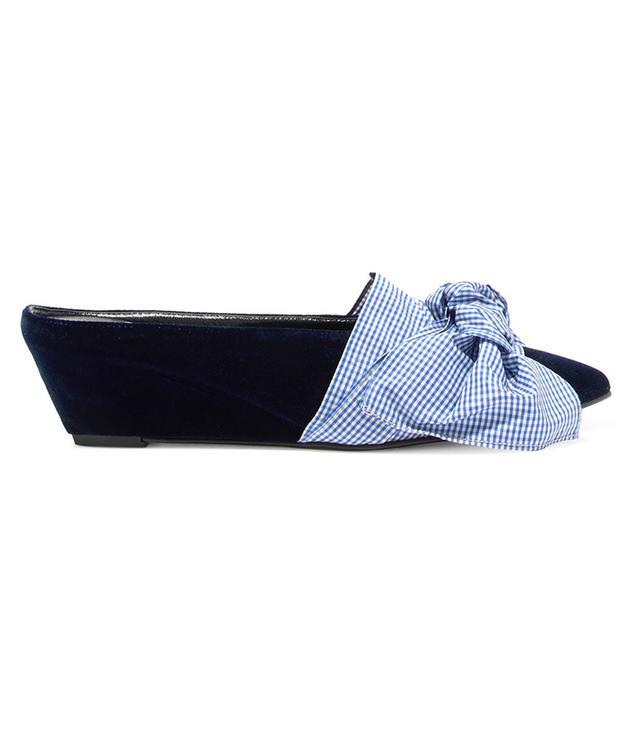 Adrien Gingham Bow-embellished Velvet Wedge Slippers