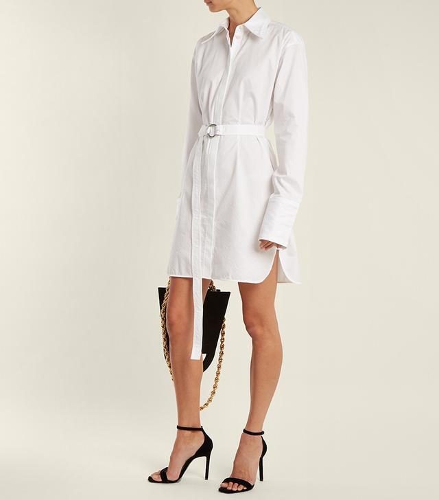 Striped tie-waist cotton shirtdress