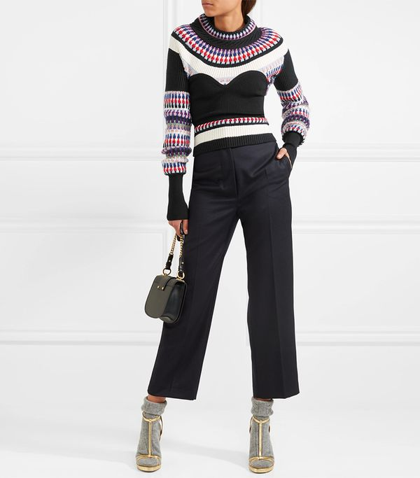 Ribbed Intarsia-knit Sweater