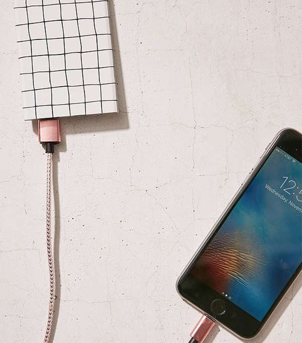 Slim Grid Portable Power Charger - White One Size at Urban Outfitters