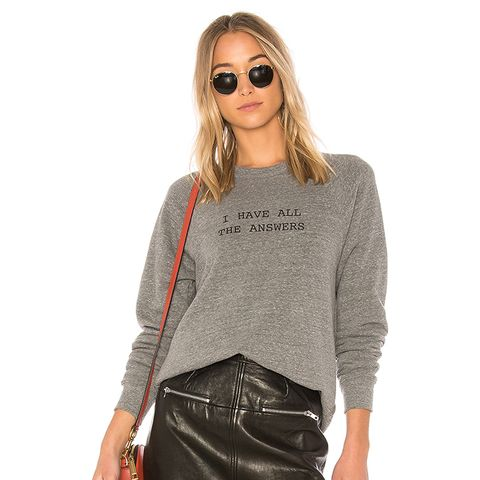 I Have All the Answers College Sweatshirt in Gray