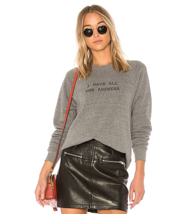 I Have All The Answers College Sweatshirt in Gray. - size XS (also in S,M)