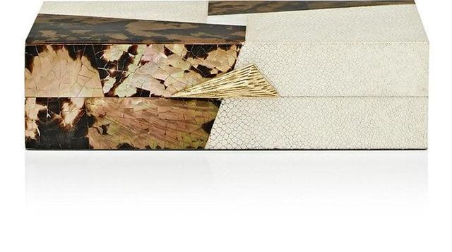 Brown Lip Tiger Shell & Shagreen Rectangular Box