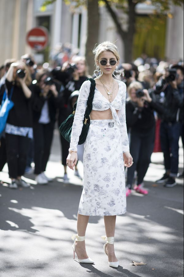 Street style girl in white two-piece set