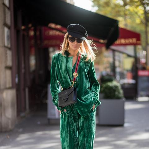 Street style green velvet suit