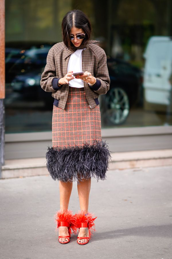 Street style with fur Prada shoes