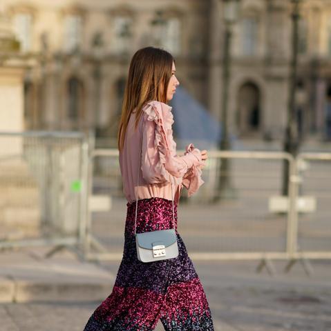 Street style metallic pants and Furla bag