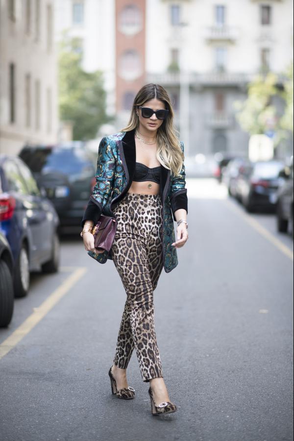 Street style leopard print pants