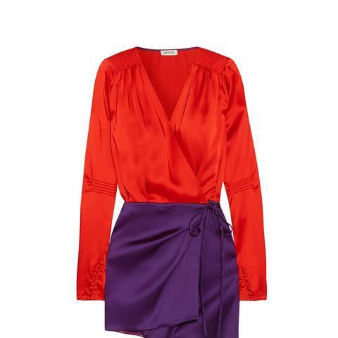 Smocked Two-Tone Satin Wrap Dress