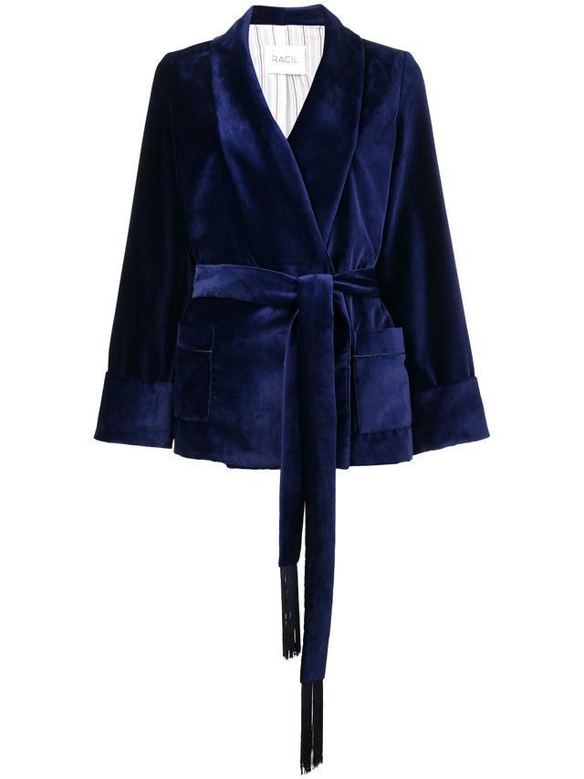 tassel tie velvet kimono jacket
